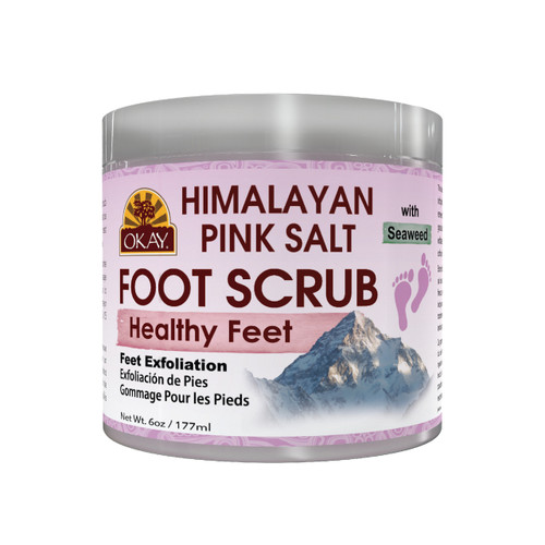 Himalayan Pink Salt with Seaweed Foot Scrub - Leaves Feet Feeling Fresh, Renewed & Pampered-  Exfoliates Rough Skin On Feet, Leaving Feet Velvety Soft & Renewed - No Parabens, No Silicones, No Sulfates - For All Skin Types - Made In USA  6oz / 170gr