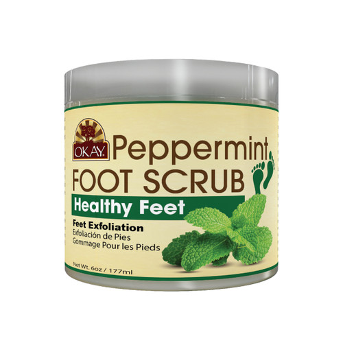 Peppermint Foot Scrub -  Leaves Skin Smooth, Clean And Rejuvenated- Thoroughly Exfoliates Rough Skin On The Feet, Leaving Feet Velvety Soft & Renewed - No Parabens, No Silicones, No Sulfates - For All Skin Types -  6oz 6oz / 170gr