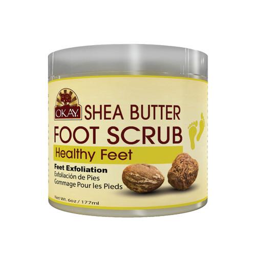 OKAY Shea Foot Scrub - Provides Deep Moisturizing And Nourishment.- Thoroughly Exfoliates Rough Skin On The Feet, Leaving Feet Velvety Soft & Renewed - No Parabens, No Silicones, No Sulfates - For All Skin Types -  6oz / 170gr