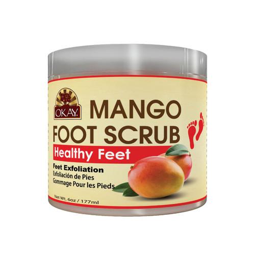 OKAY Mango Foot Scrub - Contains Skin Rejuvenating Properties- Thoroughly Exfoliates Rough Skin On The Feet, Leaving Feet Velvety Soft & Renewed - No Parabens, No Silicones, No Sulfates - For All Skin Types - 6oz / 170gr