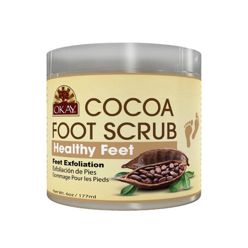 OKAY Cocoa Foot Scrub- Provides Deep Nourishment And Moisture-Thoroughly Exfoliates Rough Skin On The Feet, Leaving Feet Velvety Soft & Renewed - No Parabens, No Silicones, No Sulfates - For All Skin Types -  6oz / 170gr