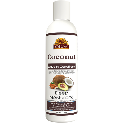 OKAY Coconut Deep Moisturizing Leave In Conditioner - Helps Replenish Moisture And Elasticity For Healthy Strong Hair - Sulfate, Silicone, Paraben Free For All Hair Types and Textures - Made in USA 8oz 237ml