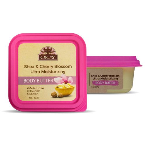 Shea & Cherry Blossom Ultra Moisturizing Body Butter- Rich In Nutrients, Keeps Skin Soft ,Promotes Healthy Skin - Silicone, Paraben Free For All Skin Types. Made in USA 7oz/198gr