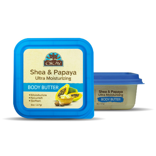Shea & Papaya Ultra Moisturizing Body Butter- Rich In Nutrients, Keeps Skin Soft ,Promotes Healthy Skin -Silicone, Paraben Free For All Skin Types. Made in USA 7oz/198gr