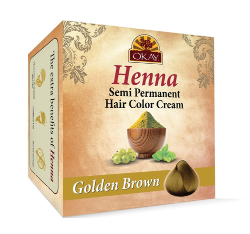 OKAY Henna Semi-Permanent Hair Color Cream - Golden Brown- Provides Rich Vibrant Color-  Adds Nourishing Properties - Leaves Hair Soft And Shiny- For All Hair Types & Textures- 2 oz