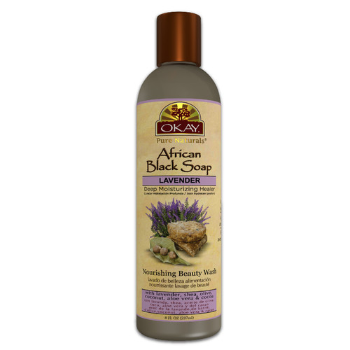 AFRICAN BLACK SOAP LIQUID WITH LAVENDER - For Cleansing & Treating Skin Conditions- Helps Achieve Beautiful, Healthier Looking Skin- Sulfate, Silicone, Paraben Free For All Skin Types - Made in USA 8OZ / 237ML