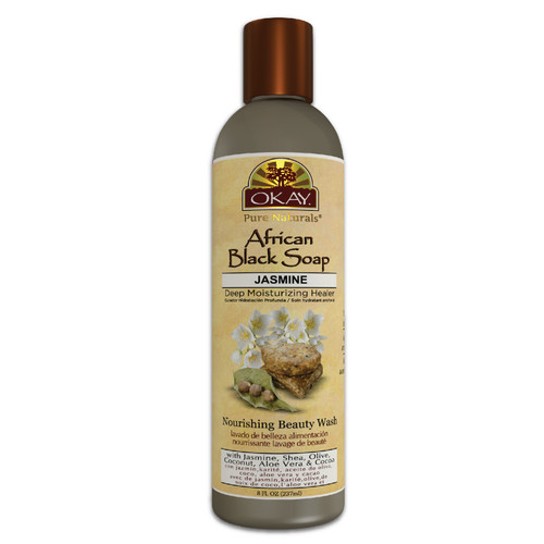 OKAY African Black Soap Liquid with Jasmine- For Cleansing & Treating Skin Conditions- Helps Achieve Beautiful, Healthier Looking Skin- Sulfate, Silicone, Paraben Free For All Skin Types - Made in USA 8OZ / 237ML