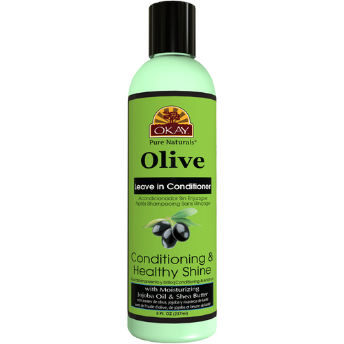 OKAY Olive Conditioning and Healthy Shine Leave In Conditioner – Helps Nourish, Condition, And Hydrate Hair - Sulfate, Silicone, Paraben Free For All Hair Types and Textures   8oz 237ml
