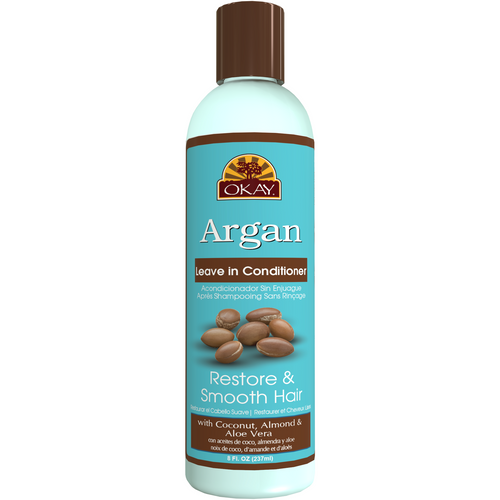 OKAY Restorative Argan Leave In Conditioner  - Helps Restore, Hydrate, And Smooth Hair- Sulfate, Silicone, Paraben Free For All Hair Types and Textures - Made in USA 8oz 237ml