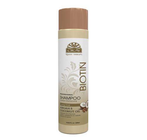 OKAY Roots Therapy® Biotin, Argan & Coconut Professional Shampoo- Restores Hair Moisture & Shine- Revitalizes, Nourishes & Adds  Balance To Dry, Weak, Damaged hair-Sulfate, Silicone, Paraben Free For All Hair Types and Textures