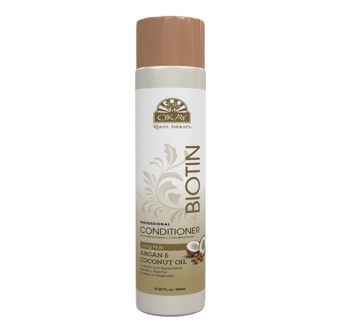 OKAY Roots Therapy® Biotin, Argan & Coconut Professional Conditioner- Hydrates Hair, Revives  Moisture & Shine- Adds Nutrients- Provides Balance To Dry, Weak, Damaged Hair. Sulfate, Silicone, Paraben Free For All Hair Types and Textures