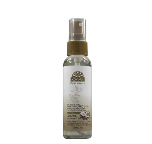Roots Therapy® Argan & Coconut Professional Heat Protection Spray- Helps Protect Hair From Heat Damage -Sulfate, Silicone, Paraben Free For All Hair Types and Textures  - Made in USA