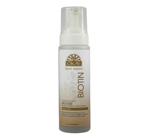 OKAY Roots Therapy® Biotin Professional Mousse- Helps Reduce Frizz And Enhances The Appearance Of Hair -Sulfate, Silicone, Paraben Free For All Hair Types and Textures