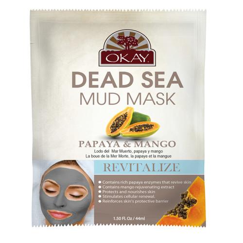 OKAY Dead Sea Mud Mask Papaya & Mango- Revitalizes And Provides Enzymes That Sustain Skin - Nourishes & Replenishes- Promotes Healthy Skin-  1.50 fl.oz /44ml