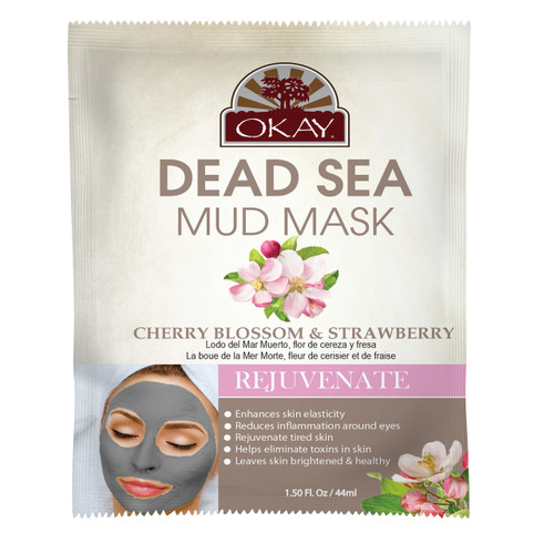 OKAY Dead Sea Mud Mask Cherry Blossom & Strawberry- Repairs The Skins Natural Barriers -  Promotes Smooth And Supple Skin - Nourishes & Replenishes- Promotes Healthy Skin-  1.50 fl.oz /44ml