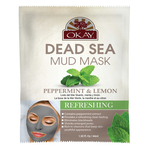 OKAY Dead Sea Mud Mask Peppermint & Lemon- Refreshing & Cleansing - Minimizes Appearance Of Enlarged Pores - Nourishes & Replenishes- Promotes Healthy Skin-  1.50 fl.oz /44ml