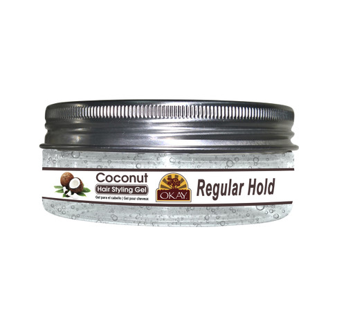 OKAY Coconut Hair Gel -Regular Hold -Healthy Conditioning Shine, Leaves Hair Smooth, Conditions Hair- No flakes, No stick, No Itch, And Alcohol-Free, For All Hair Types And Textures - 5 oz