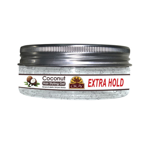 OKAY Coconut Hair Gel - Extra Hold -Healthy Conditioning Shine, Leaves Hair Smooth, Conditions Hair- No flakes, No stick, No Itch, And Alcohol-Free, For All Hair Types And Textures - 5 oz