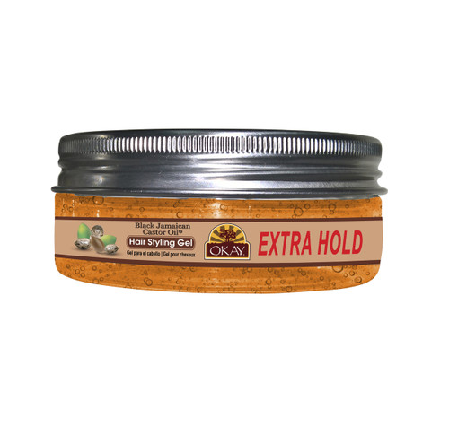 OKAY Black Jamaican Castor Oil Hair Gel - Extra Hold- Healthy Conditioning Shine, Leaves Hair Smooth, Conditions Hair- No flakes, No stick, No Itch, And Alcohol-Free, For All Hair Types And Textures - 5 oz