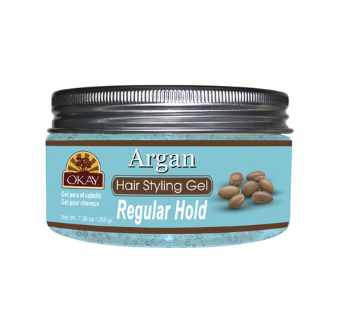 OKAY Argan Hair Gel  -Regular Hold- Healthy Conditioning Shine, Leaves Hair Smooth, Conditions Hair- No flakes, No stick, No Itch, And Alcohol-Free, For All Hair Types And Textures - 7.25 oz