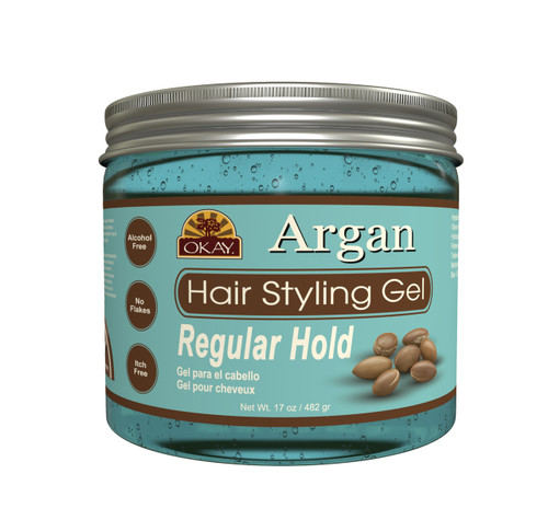 Argan Hair Gel  -Regular Hold- Healthy Conditioning Shine, Leaves Hair Smooth, Conditions Hair- No flakes, No stick, No Itch, And Alcohol-Free, For All Hair Types And Textures - Made in USA    17 oz