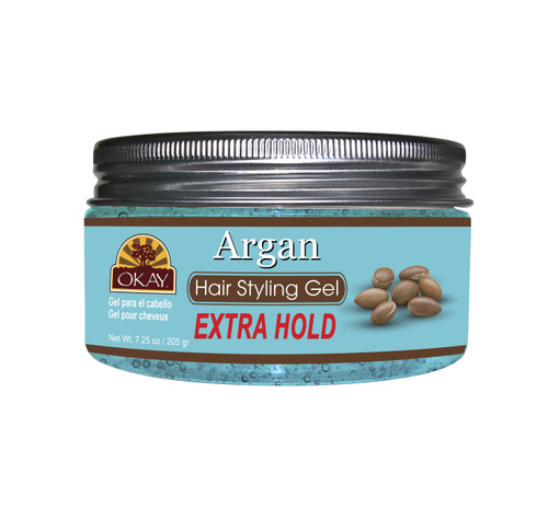OKAY Argan Hair Gel - Extra Hold - Healthy Conditioning Shine, Leaves Hair Smooth, Conditions Hair- No flakes, No stick, No Itch, And Alcohol-Free, For All Hair Types And Textures -  7.25 oz