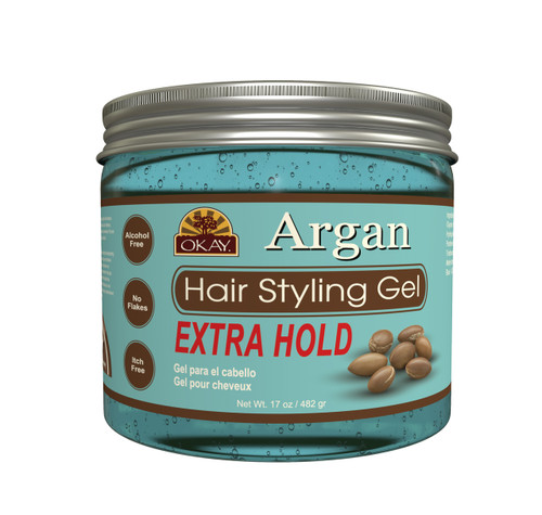 OKAY Argan Hair Gel  - Extra Hold - Healthy Conditioning Shine, Leaves Hair Smooth, Conditions Hair- No flakes, No stick, No Itch, And Alcohol-Free, For All Hair Types And Textures - 17 oz