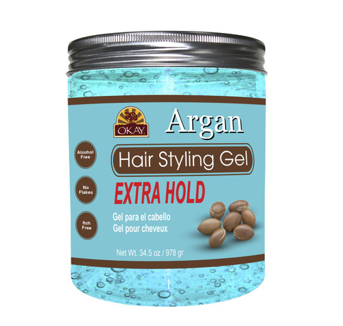 OKAY Argan Hair Gel - Extra Hold - Healthy Conditioning Shine, Leaves Hair Smooth, Conditions Hair- No flakes, No stick, No Itch, And Alcohol-Free, For All Hair Types And Textures -  34.5 oz