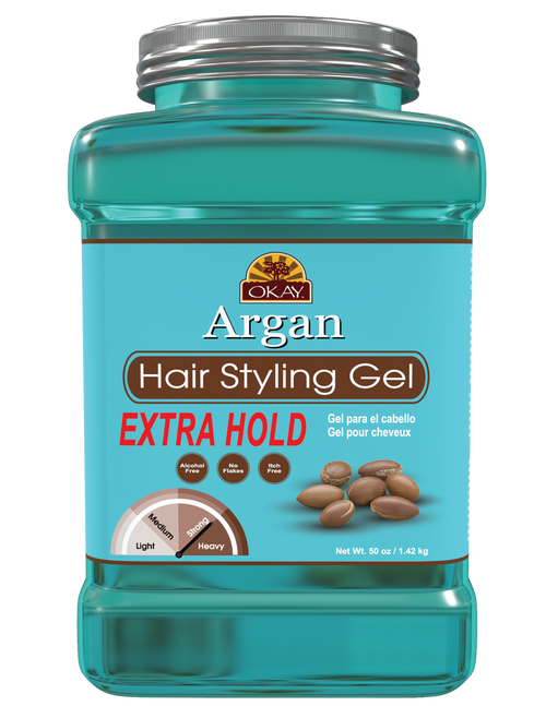Argan Hair gel- Extra Hold - Healthy Conditioning Shine, Leaves Hair Smooth, Conditions Hair- No flakes, No stick, No Itch, And Alcohol-Free, For All Hair Types And Textures - Made in USA   50 oz / 1.42 kg