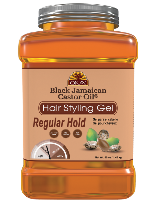 OKAY Black Jamaican Castor Oil Hair gel - Regular Hold- Healthy Conditioning Shine, Leaves Hair Smooth, Conditions Hair- No flakes, No stick, No Itch, And Alcohol-Free, For All Hair Types And Textures -  50 oz / 1.42 kg