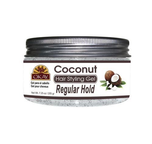 OKAY Coconut Hair Gel - Regular Hold- Healthy Conditioning Shine, Leaves Hair Smooth, Conditions Hair- No flakes, No stick, No Itch, And Alcohol-Free, For All Hair Types And Textures -   7.25 oz