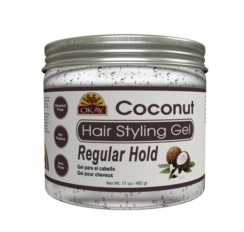 OKAY Coconut Hair Gel - Regular Hold- Healthy Conditioning Shine, Leaves Hair Smooth, Conditions Hair- No flakes, No stick, No Itch, And Alcohol-Free, For All Hair Types And Textures  - 17 oz