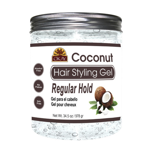 Coconut Hair Gel - Regular Hold- Healthy Conditioning Shine, Leaves Hair Smooth, Conditions Hair- No flakes, No stick, No Itch, And Alcohol-Free, For All Hair Types And Textures  - Made in USA 34.5 oz