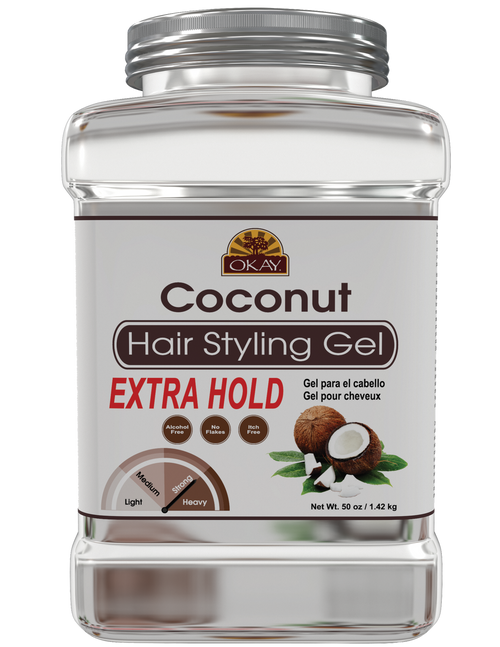 OKAY Coconut Hair gel - Extra Hold - Healthy Conditioning Shine, Leaves Hair Smooth, Conditions Hair- No flakes, No stick, No Itch, And Alcohol-Free, For All Hair Types And Textures  -   50 oz / 1.42 kg