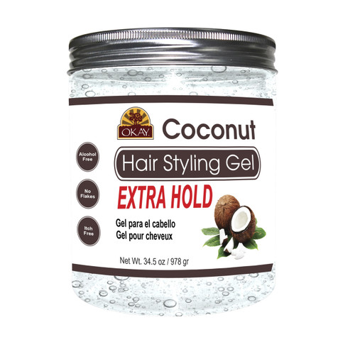 OKAY Coconut Hair Gel - Extra Hold - Healthy Conditioning Shine, Leaves Hair Smooth, Conditions Hair- No flakes, No stick, No Itch, And Alcohol-Free, For All Hair Types And Textures  -  34.5 oz