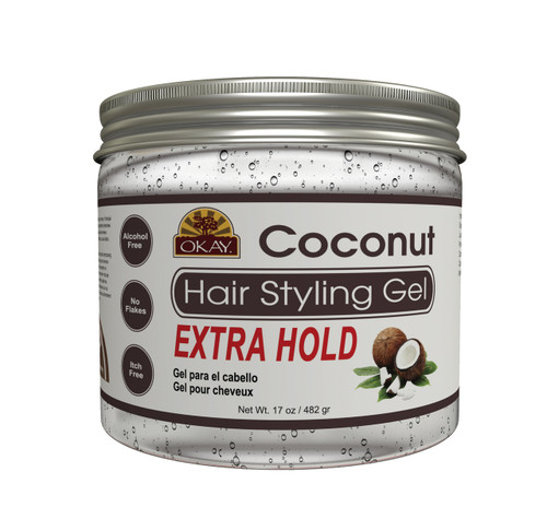 OKAY Coconut Hair Gel - Extra Hold - Healthy Conditioning Shine, Leaves Hair Smooth, Conditions Hair- No flakes, No stick, No Itch, And Alcohol-Free, For All Hair Types And Textures -   17 oz
