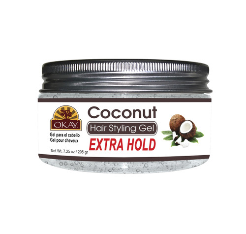 OKAY Coconut Hair Gel - Extra Hold -Healthy Conditioning Shine, Leaves Hair Smooth, Conditions Hair- No flakes, No stick, No Itch, And Alcohol-Free, For All Hair Types And Textures   7.25 oz