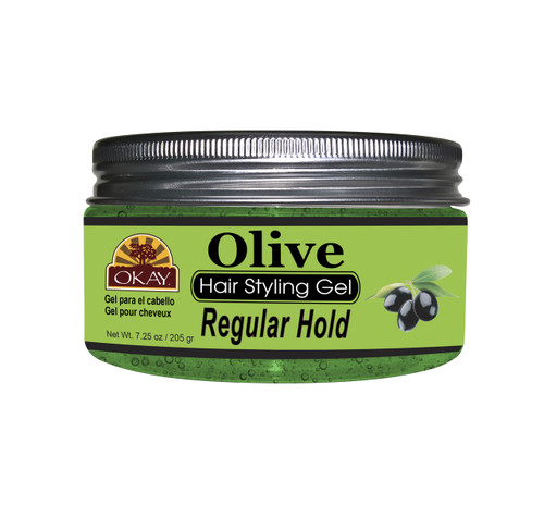 OKAY Olive Hair Gel - Regular Hold- Healthy Conditioning Shine, Leaves Hair Smooth, Conditions Hair- No flakes, No stick, No Itch, And Alcohol-Free, For All Hair Types And Textures -  7.25 oz