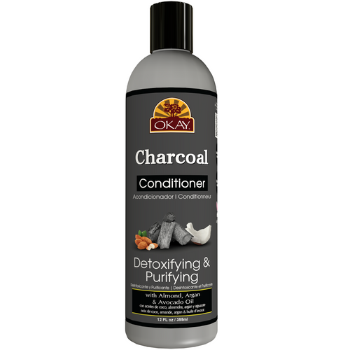 OKAY Charcoal Detoxing & Purifying Conditioner– Helps, Detoxify, Purify, and Cleanse Hair - Sulfate, Silicone, Paraben Free For All Hair Types and Textures - Made in USA 12oz 355ml