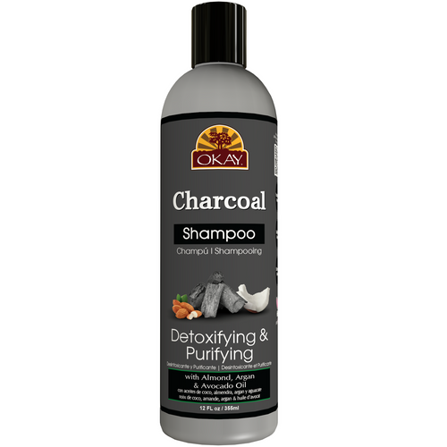 OKAY Charcoal Detoxing & Purifying Shampoo– Helps, Detoxify, Purify, and Cleanse Hair - Sulfate, Silicone, Paraben Free For All Hair Types and Textures - Made in USA 12oz 355ml