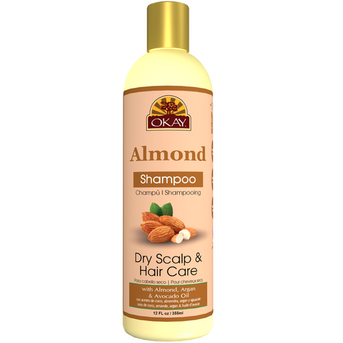 OKAY Dry Hair & Scalp Almond Shampoo -Helps Hydrate, Moisturize, And Soften Hair - Sulfate, Silicone, Paraben Free For All Hair Types and Textures - Made in USA 12oz 355ml