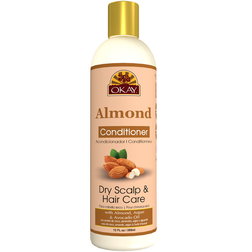 OKAY Dry Hair & Scalp Almond Conditioner  -Helps Hydrate, Moisturize, And Soften Hair-Sulfate, Silicone, Paraben Free For All Hair Types and Textures -  12oz 355ml