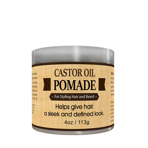 MEN Castor Oil Beard and Hair Pomade - For Styling Hair And Beard, All Day Hold, For A Sleek Defined Look-  Silicone, Paraben Free For All Hair Types and Textures - Made in USA 4oz
