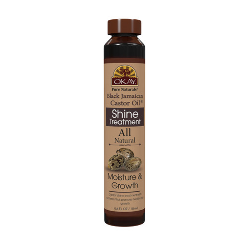 OKAY Castor Shine Treatment - Restore And Smooth Hair - Soft, Smooth, Enhanced Shine And Strong Hair - Created With 12 Natural Oils  - No Parabens, No Silicones, No Artificial Colors - For All Hair Types And Textures  - Made in USA  0.6 oz/18 ml