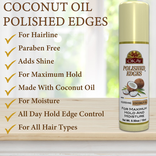 POLISHED EDGES COCONUT TUBE STICK- No Flaking  All Day Hold Edge Control - For Hairline, Sideburns - Silicone, Paraben Free For All Hair Types and Textures -  Made in USA  .5oz / 15ml