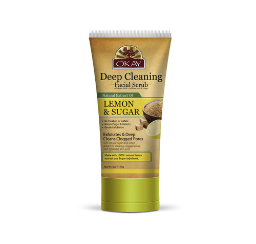 OKAY Deep Cleaning Lemon and Brown Sugar Facial Scrub- Helps Clear Blemishes, Deep Cleans Pores, Leaves Skin Smooth - Alcohol, Sulfate, Paraben Free -6oz/ 170g