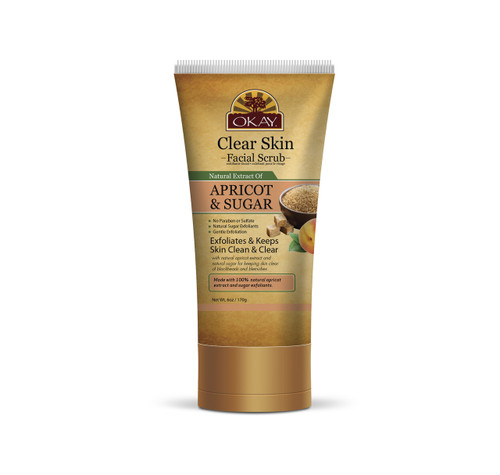 OKAY CLEAR SKIN APRICOT and BROWN SUGAR FACIAL SCRUB - Helps Clear Blemishes, Minimize Pores, Leaves Skin Smooth - Alcohol, Sulfate, Paraben Free -6oz/ 170g