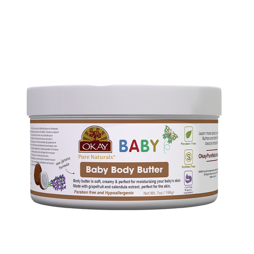 OKAY All Natural Baby Body Butter with Organic Ingredients - Helps Gently Moisturize, Protect, And Nourish Baby's Skin - Alcohol, Sulfate, Silicone, Paraben Free For All Skin Types - Made in USA 7oz