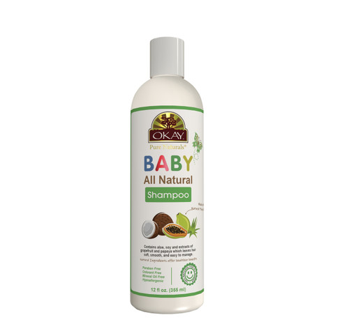 OKAY All Natural Baby Shampoo with Organic Ingredients - Helps Cleanse, Nourish, And Condition Baby's Hair - Specially Formulated For Baby's Hair & Scalp - Sulfate, Silicone, Paraben Free For All Hair Types - Made in USA 12oz