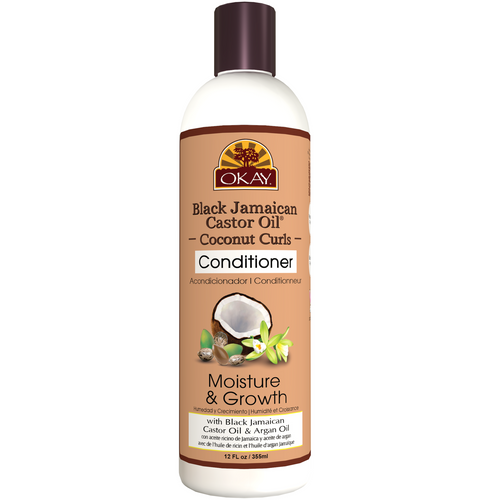 OKAY Black Jamaican Castor Oil Coconut Curls Conditioner- Helps Condition, Strengthen, And Regrow Hair  - Sulfate, Silicone, Paraben Free For All Hair Types and Textures - Made in USA 12oz 355ml